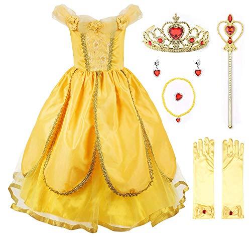 EUSupermarket Mädchen Prinzessin Kostüm Belle Kostüm Kinderkleider Mädchen Tutu Kleid PartyKostüm Deluxe Party Fancy Dress Up mit Zubehör YellowTwo 7 ()