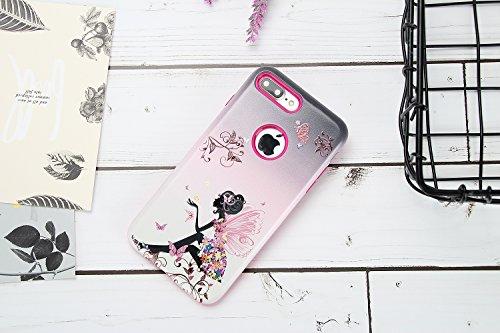 Coque iPhone 7 Plus , iPhone A1661 / iPhone A1784 Case Cover Pourpre Papillon et Fleurs Rose Motif Dessin Mode Etui Souple Flexible Silicone Doux TPU Enveloppe Coque Pour E-Lush iPhone 7 / iPhone A166 Fée des Fleurs