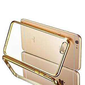 Premium Ultra Thin Rubber TPU - clorox [Gold Bumper] [Back Transparent] Silicon Cover For Iphone 6s
