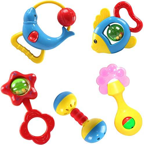 Domc Baby-Geklapper - Baby-Spielzeug-Set, 5 Baby Sensory Spielzeug Geeignet Für 0-18 Monate Baby-Frühe Intellektuelle Entwicklung Zu Fördern -