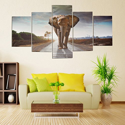 canvas-painting-luckyfine-modern-abstract-wall-decor-art-painting-5-pcs-set-elephant-picture-no-fram