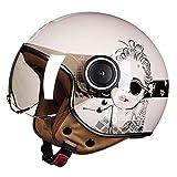 XF Schutzhelme Helm-Adult Open-Gesicht Helm Unisex Retro Electric Motorrad Helm Safe Light Breath...