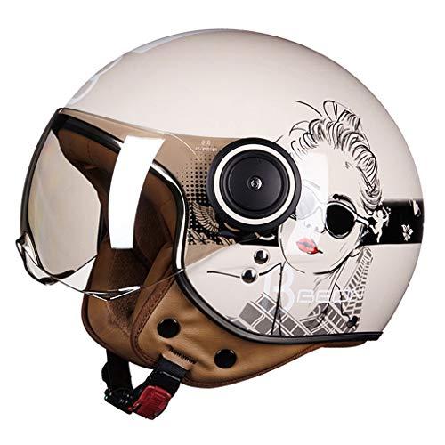 XF Schutzhelme Helm-Adult Open-Gesicht Helm Unisex Retro Electric Motorrad Helm Safe Light Breath Mode für Männer Frauen Kopfschutz (Farbe : B, größe : M)