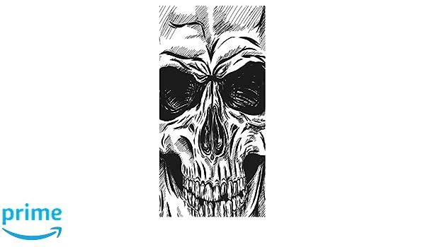 LimeWorks Drap de Bain 70x140 cm Motif t/ête de Mort Noir et Blanc
