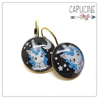 Boucles d'Oreilles Dormeuses cabochon verre Licorne, Lune et Étoiles Gris et Bleu