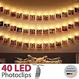 King Age LED Photo Clips Lumière Chaînes-40photo Clips 5m Batterie fonctionnant Éclairage d'ambiance décoration pour photo suspendu Memos oeuvres d'art