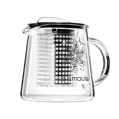 Samova Théière Transparente, Couvercle, Brew Stop Maker, Filtre à Thé, 400 mL