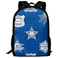 College Bag Sheriff Badge Boys Travel Bag School Bookbag Casual Teen Girls Backpack