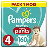 Pampers - Baby Dry Pants - Couches-culottes Taille 4 (8-14 kg) - Pack 1 mois (x160 culottes)