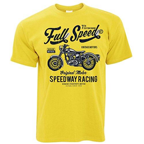 Retro Biker Maglietta Art Full Speed ??Speedway Corsa Yellow L