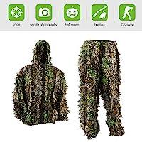 PELLOR Ghillie Poncho pour Enfant Motif Feuilles en 3D Camouflage Armée  Sniper Vêtement Militaire pour la 74fa585e2a4