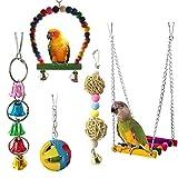 ZDJR Giocattolo da Masticare per Uccelli, Scala per Uccelli, Campana appesa per Uccelli, Altalena per Amaca per Piccoli pappagalli, Multicolore, Set di 5