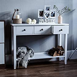 Home Discount Windsor 3 Drawer Console Table With Shelf, White Wooden Hallway Living Room Bedroom Dressing Dresser Desk Furniture