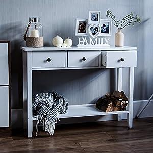 Vida Designs Windsor Ablagetisch mit DREI Schubläden, Weiß, Hölzern, Flur, Korridor, Wohnzimmer, Schlafzimmer…