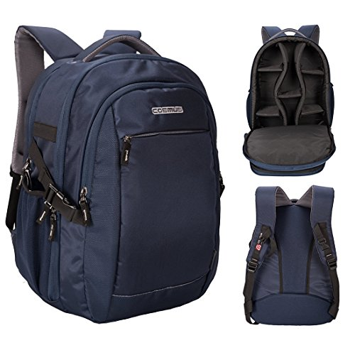 Cosmus Horizon DSLR Camera Backpack Bag With Laptop Compartment & Well Padded Adjustable Grids For Lenses (Navy Blue)