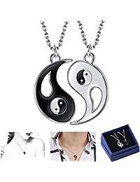 BASON Collar Ying Yang,Jewelry Puzzle Colgante en diseño Yin-Yang para niños, niñas, Mejores Amigos, Amantes y Parejas, 2 Collares de aleación, Regalos para Parejas