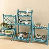 Support de fleurs multicouche en bois massif pliable Salon balcon chambre à coucher...