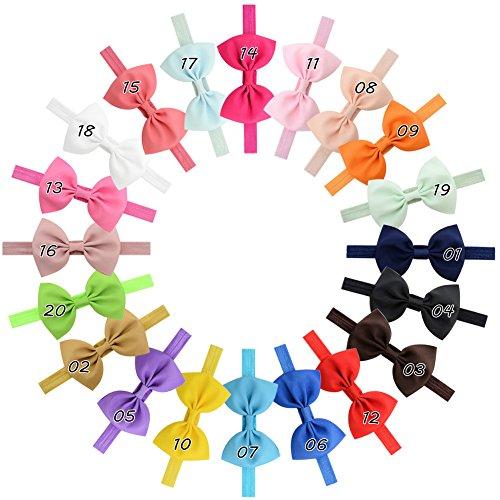 20 Stück Baby Mädchen Haar Bogen Haar Bands Elastische Stirnbänder mit 6