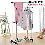 Clothes Drying Rack, Heavy Duty Double Pole Rail Rod Adjustable Garment Rack Clothing Rack Outdoor Indoor Clothes Rack Hanger, with 360 Degree Wheels