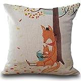 Sunnywill 45cm*45cm Fox drucken Schlafsofa Hauptdekoration Kissenbezug Kissenhülle
