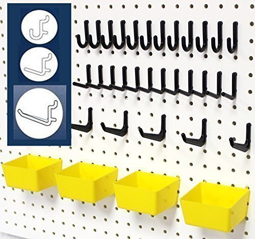 WallPeg 43 Pc. Peg Board Storage System - Pegboard Hook Assortment Organizer Bins Y/B # AM 302- 2 by WallPeg -