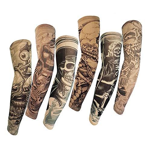 Juland 6 Stück Temporär Tattoo Ärmel Gefälschter Beleg auf Tätowierung Armstulpen-Kit Arm Sonnenschutz Strümpfe Zubehör für Unisex Party Coole Männer Frau
