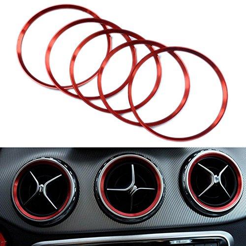 PolarLander 5 Stück / Set Außenluft Air Vent Auslass Ring Abdeckung Trimm Dekoration Rot (Klasse Ringe 2013)