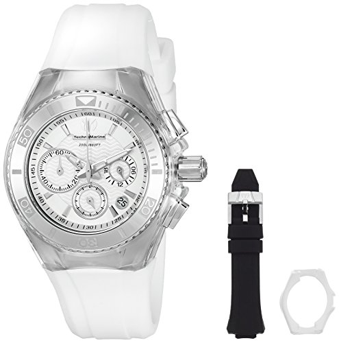 technomarine-womens-quartz-watch-with-silver-dial-chronograph-display-and-white-silicone-strap-tm-11