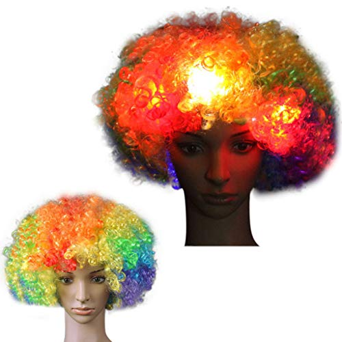 Cooljun Clown Perücke, LED Clown Perücke Afro Curly Perücke LED Perücke mit Blinkenden Farbigen Lichtern Halloween Cosplay Kostüm Haar Zubehör für Kinder Erwachsene ()