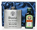 Laser Engraved/Personalised BIRTHDAY-JAGER-DESIGN Hip Flask & 4cl Jagermeister Gift Set in Silk Gift Box - 18th/21st/30th/40th