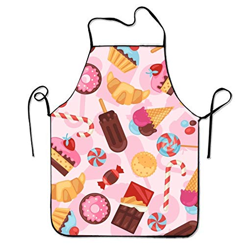 Kind Ice Kostüm Cream Mann - HTETRERW Doughnut Ice Cream Apron for Baking Crafting Gardening Cooking Durable Easy Cleaning Creative Bib for Man and Woman Standar Size