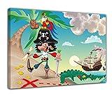 Kunstdruck - Kinderbild Pirat auf Insel Cartoon - Bild auf Leinwand - 60x50 cm - Leinwandbilder - Kinder - Abenteuer - Schatzinsel - Schatzsuche
