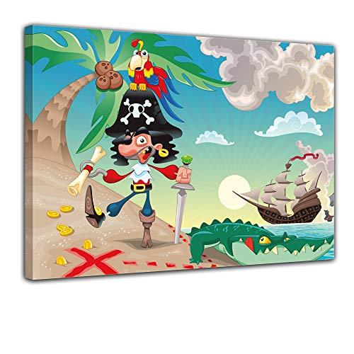 Kunstdruck - Kinderbild Pirat auf Insel Cartoon - Bild auf Leinwand - 40x30 cm - Leinwandbilder - Kinder - Abenteuer - Schatzinsel - Schatzsuche
