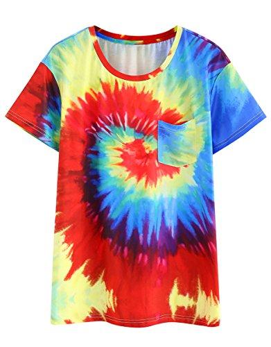 ROMWE Damen Tie Dye Sommer Hundhals Wasserfarbe Kurzarm T-Shirt Rot L (Shirt Tie Damen Dye)