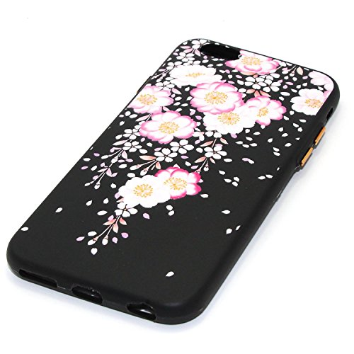 """Coque iPhone 6, Étui iPhone 6S, ISAKEN Coque pour Apple iPhone 6(4.7"""") - Étui Housse Téléphone Étui TPU Silicone Souple Coque Ultra Mince Gel Doux Housse Motif Arrière Case Antichoc Doux Durable Résis fleur D"""