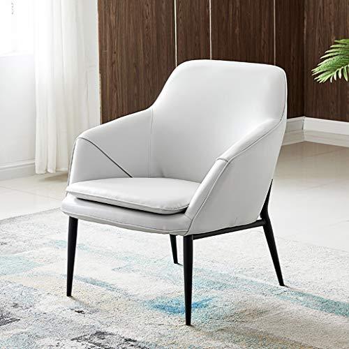 Slow Time Shop Moderner einfacher Akzentlederstuhl Schlafzimmer Kleines Sofa Nordic-Esszimmerstuhl Mittlere Rückenlehne Akzent-Sessel Moderner Freizeit-Polsterstuhl (Color : White) -
