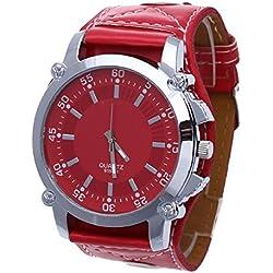 Facilla Fashion Men's + Women's Watch Quartz Watch Leather Stainless Steel Men Wrist Watch Red