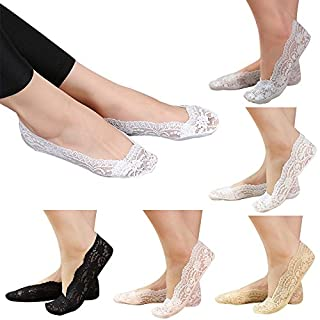 5 Pairs Womens Ladies Girls Skin Shoe Liners Footsies Invisible Thin Lace Socks Sheer, Great Flower Lace Footsies (5 Pairs Mixed Colours)