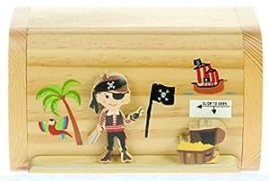 Pirate : Fabriqué à la main tirelire en bois avec serrure secret! Cadeau fantastique pour Noël ou anniversaire. Haute qualité traditionnelle cadeau de Noël pour les enfants ou les adultes. (Taille 17 x 13 x 5 cm)