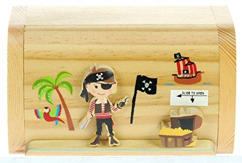 Pirat und Schatz : Sparschwein Spardose Kinder : Geschenk für Jungen oder Mädchen : Mini Schatztruhe mit Schloss