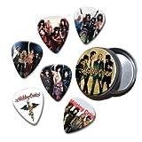 Motley Crue Set of 6 Loose Guitar Médiators in Tin ( Collection A )