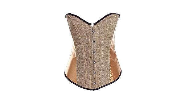 Eastery Corsetto Shinning Satin Corsage Classico da 2018 Donna con G Stile Semplice String Giallo Corsetto Shapewear Elegante Senza Maniche