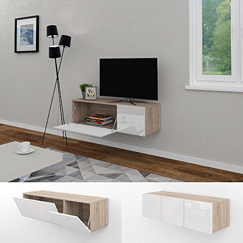 tv lowboard 120cm eiche sonoma hochglanz sideboard wandschrank fernsehschrank wohnwand. Black Bedroom Furniture Sets. Home Design Ideas