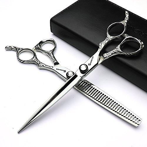 7 zoll friseurscheren 440c hohe härte feine muster professionelle salon friseur haar schneiden und verdünnung frisur beschneiden werkzeug (scissors set)