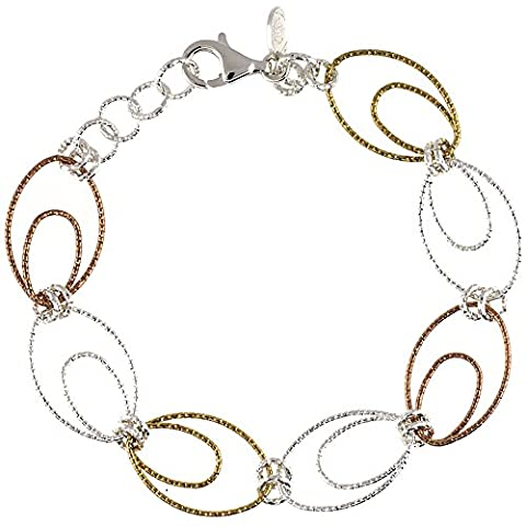 Revoni Sterling-Silber, Oval, 5 cm große Kreolen mit Diamantschliff, Armband, Weiß, Gelb &Rotgold-Finish, 9/16 Zoll 14 mm (Fashion Stretchable Armband)