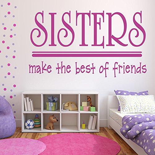 Sorelle Fai Best Friends Wall Sticker citazione Adesivo Art disponibile in 5 dimensioni e 25 colori Medio Nero