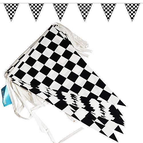 goodymax® Wimpelkette 10 m Schwarz-Weiß kariert - viele weitere Farben & Farbkombinationen zur Auswahl