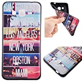 Voguecase® Para Samsung Galaxy Grand Prime G530, TPU Funda de Silicona de Gel Carcasa Tapa Case Cover (negro-USA ciudades) + Gratis aguja de la pantalla stylus universales