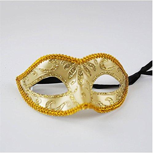 Masken Gesichtsmaske Gesichtsschutz Domino falsche Front Maske Party Halloween Make-up Tanz COS Anime Erwachsene Kinder Halb Gesicht Kleine Fee Gold-Pulver-Maske Gold