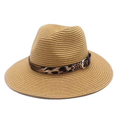 YUWEN 2019 Mode Herren Damen Stroh Sonnenhut mit Leder Leopardenmuster Panama Sonnenhut for Elegante Damen Outdoor Strand Sonnencreme Sonnenhut (Farbe : Khaki, Größe : 56-58CM) -